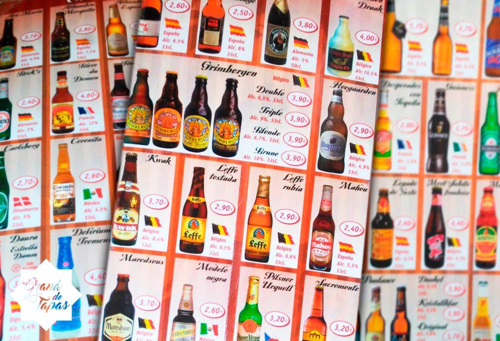 Carta de cervezas en Cervecería Rhin Barril